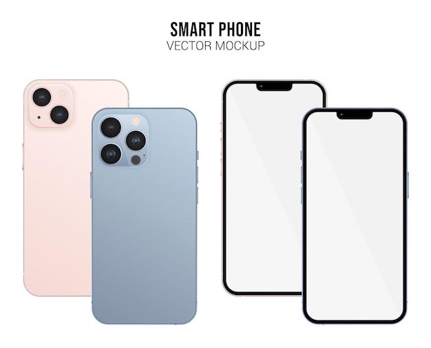 Smartphone pro vector mockup con schermo bianco isolato