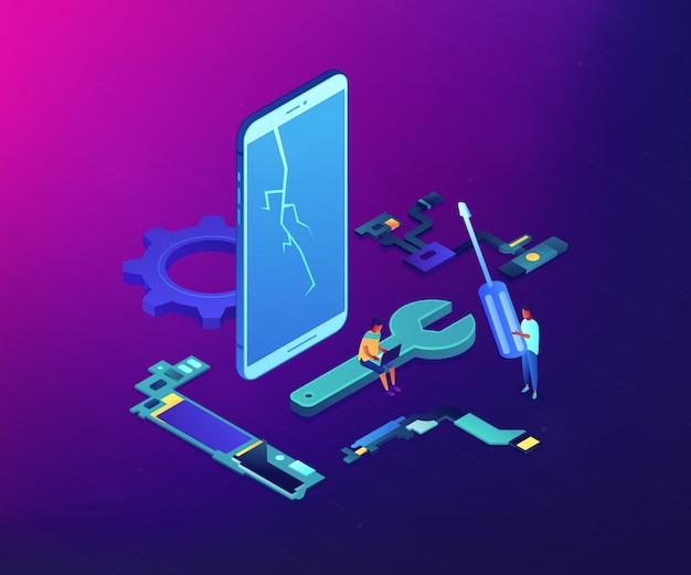 Illustrazione isometrica di concetto di riparazione di smartphone.
