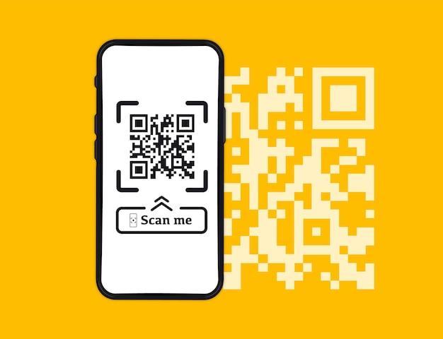 Scansione del codice qr da smartphone. verifica del codice a barre. scansione tag, genera paga digitale senza soldi. codice a barre sullo schermo dello smartphone. pagamento con codice qr, portafoglio elettronico, shopping online, tecnologia cashless