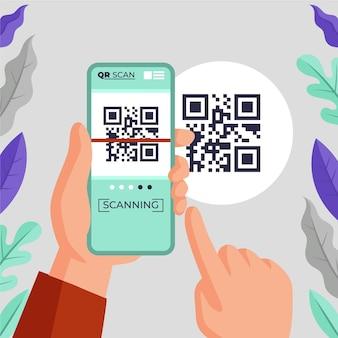 Smartphone scansione codice qr illustrazione