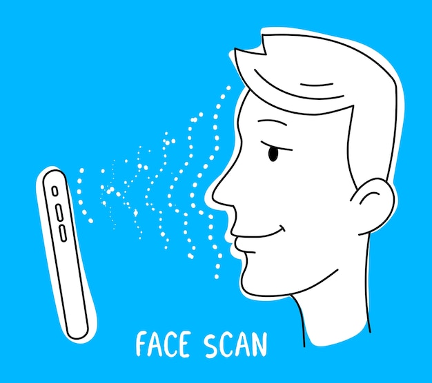 Lo smartphone esegue la scansione del viso per sbloccare lo schermo su sfondo blu