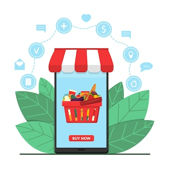 Schermo dello smartphone che mostra il negozio online con cesto di cibo