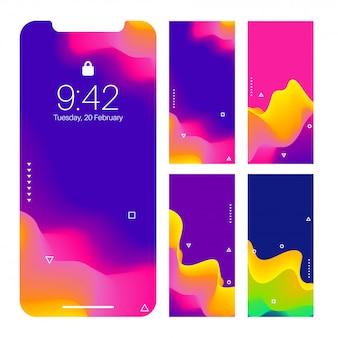 Schermo di smartphone con l'insieme astratto di progettazione della carta da parati ondulata.
