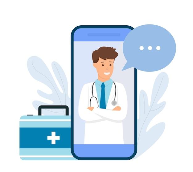 Schermo dello smartphone con medico in linea. consulenza medica in linea. illustrazione piatta. Vettore Premium