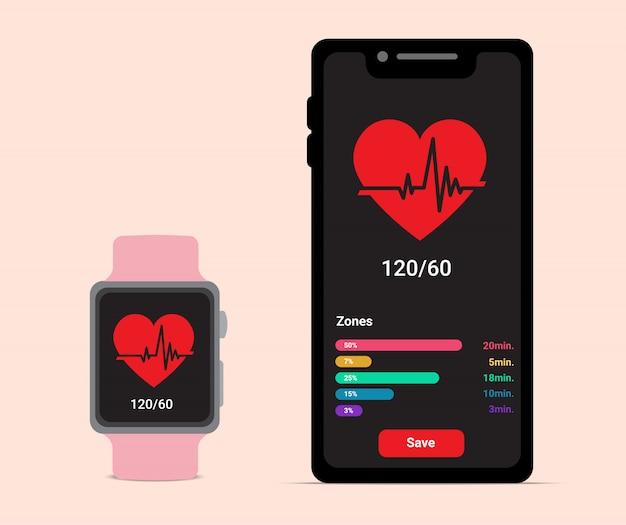 Smartphone e smartwatch con battito cardiaco per icona dell'applicazione health care o fitness. stile piano sull'illustrazione del fondo di colore pastello. tecnologia e articoli sportivi concept design.