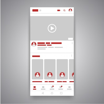 Interfaccia del lettore di youtube video mobile mobile per social media.