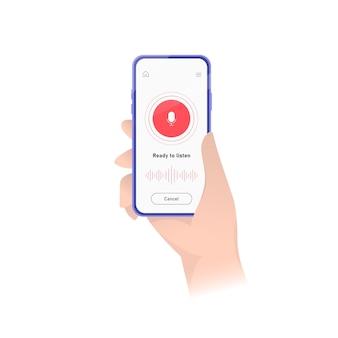 Registratore di suoni per smartphone in formato. illustrazione interfaccia dell'applicazione. interfaccia utente piatta dell'applicazione di registrazione del suono. azione .