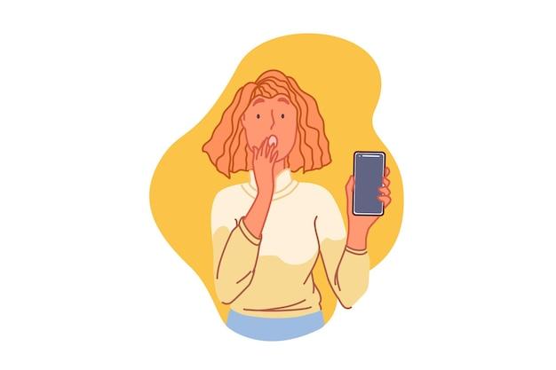 Concetto di problema tecnico di smartphone con la giovane donna