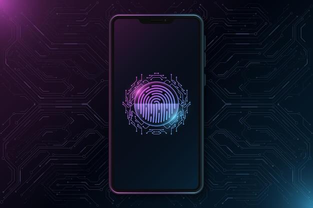 Modello di smartphone con impronta digitale futuristica sul touch screen