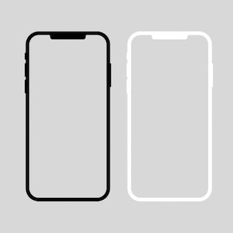 Vettore di smartphone. dispositivi in bianco e nero. modello di schermate