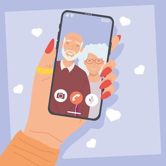 Smartphone in videochiamata con i nonni