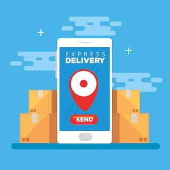 Smartphone con consegna espressa in app e scatola di cartone