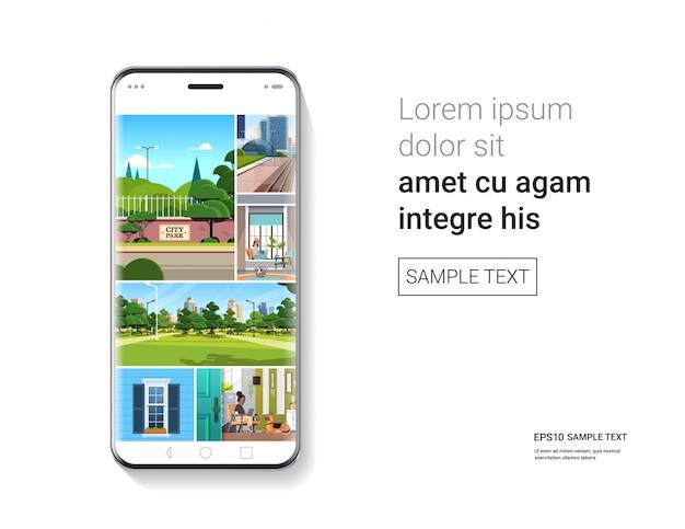 Smartphone con bellissimi sfondi sullo schermo realistico mockup gadget e dispositivi concetto
