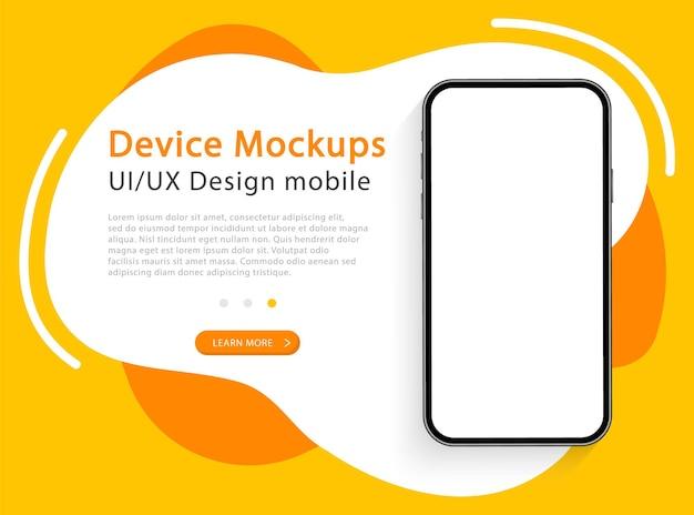 Smartphone con schermo vuoto. telefono. dispositivo moderno. progettazione dell'interfaccia utente e dell'esperienza utente per la pagina web. modello per infografica o presentazione.