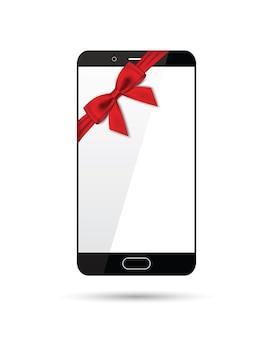 Smartphone con un fiocco su uno sfondo bianco
