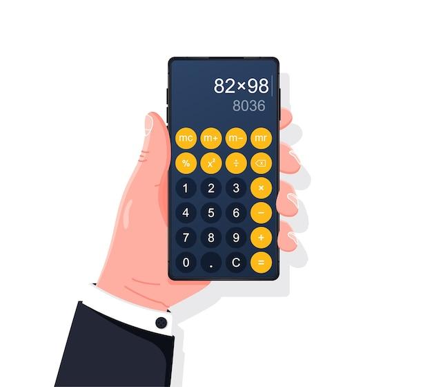 Smartphone con app calcolatrice design piatto della mano che tiene il telefono con app calcolatrice sullo schermo