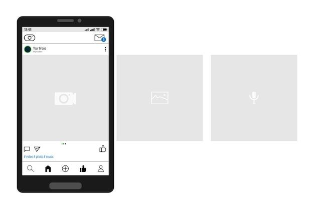 Smartphone con interfaccia a carosello post sui social network.