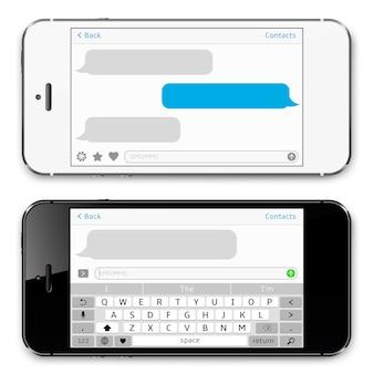 Smartphone con app sms in chat sullo schermo
