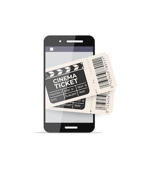 Smartphone con biglietti del cinema sullo schermo