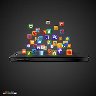 Smartphone con cloud di icone di applicazioni
