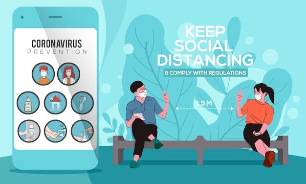 Smartphone con icona coronavirus