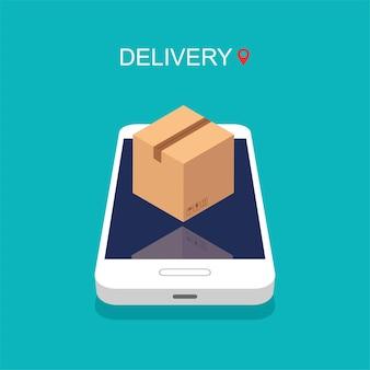 Smartphone con app di servizio di consegna. acquisti online. scatola o pacchetto ardboard su un display del telefono. tracciamento dell'ordine.