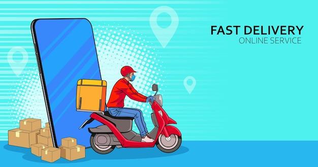 Smartphone con servizio di consegna in scooter con corriere in retro vintage pop art comic style