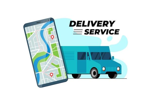 Smartphone con percorso di trasferimento del camion delle consegne e geotag di posizione gps sulla mappa della città online