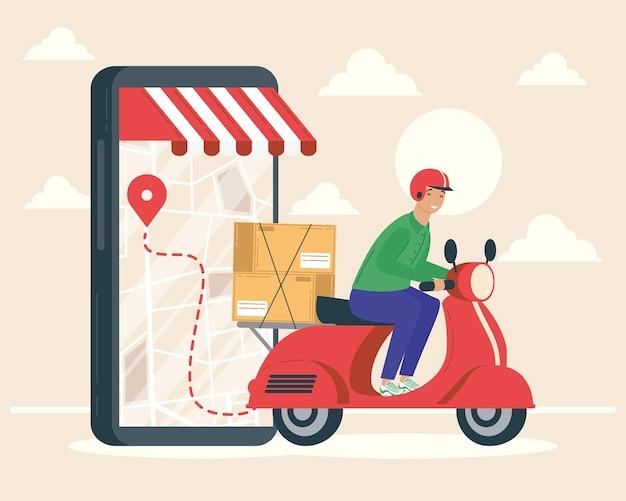 Smartphone con addetto alle consegne nel disegno dell'illustrazione del motociclo