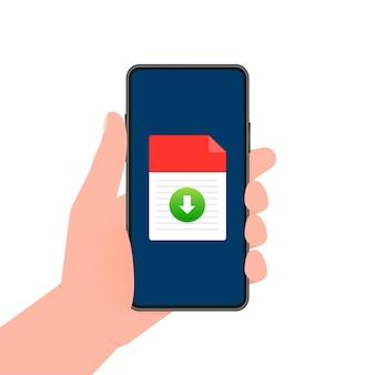 Smartphone con file scaricato in stile cartone animato