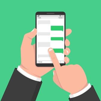 Smartphone con applicazione vuota con caselle di chat