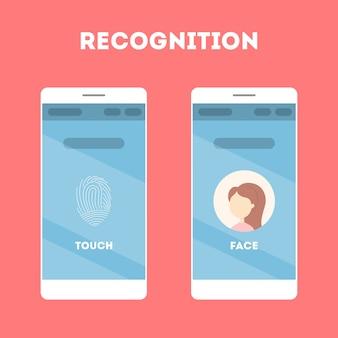 Smartphone con riconoscimento facciale e scanner di impronte digitali. app mobile per l'identificazione biometrica. idea di tecnologia moderna e progresso. illustrazione