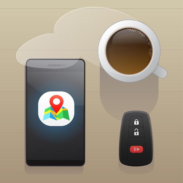 Smartphone con app di navigazione per mappe gps una tazza di caffè caldo e chiave auto vista dall'alto