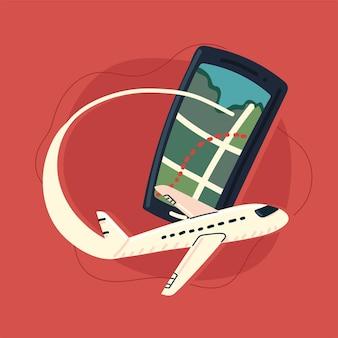 Smartphone con mappa gps