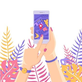 Smartphone con app di navigazione gps, tracking. telefono cellulare con applicazione cartografica
