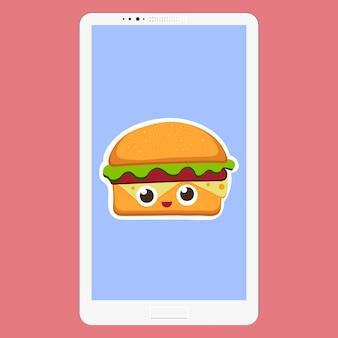 Smartphone con illustrazione vettoriale di hamburger in stile cartone animato piatto. sfondo di fast food sullo schermo. faccina divertente dei personaggi dell'emoticon dell'hamburger. illustrazione vettoriale eps 10 per il tuo design.