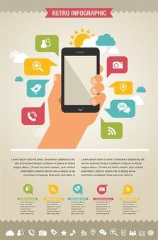 Smartphone con icone. infografica e sfondo del sito web