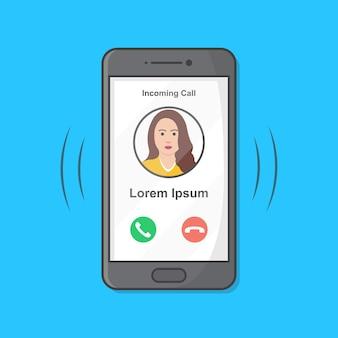 Smartphone con chiamata in arrivo sul display illustrazione.