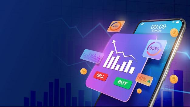 Smartphone con aumento della quota di mercato e grafico della crescita economica. mercato azionario, crescita del business, concetto di pianificazione della strategia. investi online.