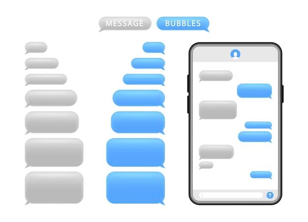 Smartphone con bolle di messaggio. bolle di discorso per la chat.