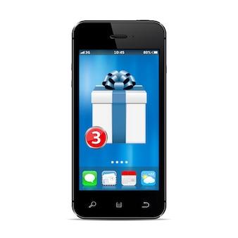 Smartphone con nuova app confezione regalo sullo schermo