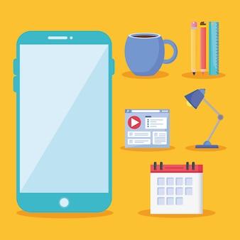 Smartphone con icone dell'ufficio