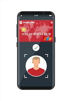 Smartphone con app di pagamento tramite riconoscimento e identificazione del volto. identificazione biometrica face id. pagamenti wireless contactless o cashless, rfid nfc