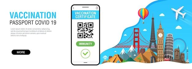 Smartphone con risultato del test del codice qr per la libera circolazione e l'app per il passaporto immunitario covid19 di viaggio