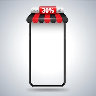 Smartphone con banner del negozio di tetto per la pubblicità promozionale