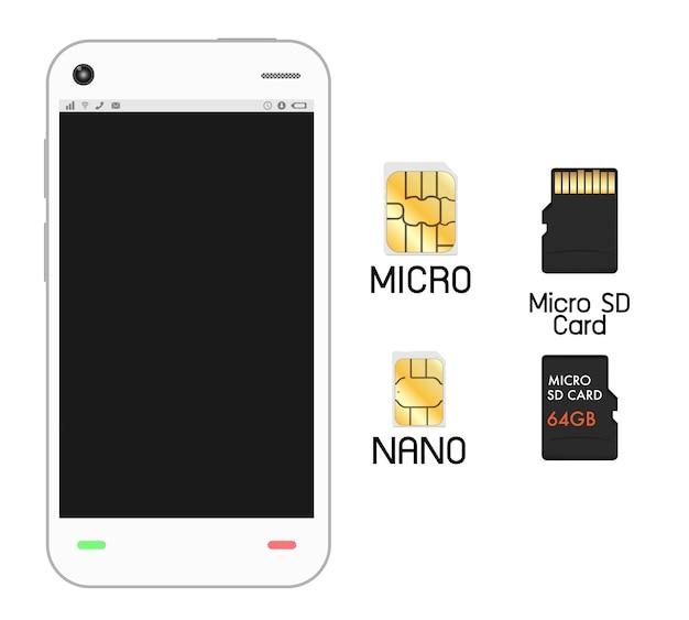 Smartphone con sim card e micro sd card