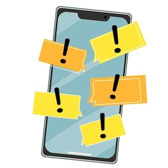 Smartphone con corrispondenza sms e punti esclamativi su sfondo giallo