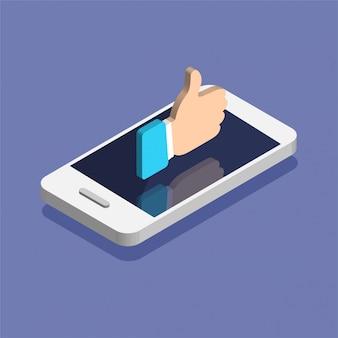 Smartphone con icona di notifiche social media in stile isometrico alla moda. notifica push con mi piace. illustrazione isolato su sfondo di colore.