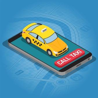 Smartphone con taxi auto e pulsante di chiamata taxi online