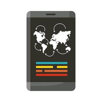 Smartphone con dispositivo app da viaggio